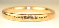 ANTIQUE 1912 18K YELLOW GOLD ETCHED DESIGN HINGED BANGLE BRACELET OPENS 13.7 gr.