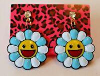 Betsey Johnson Crystal Rhinestone Enamel Flower Stud Earrings