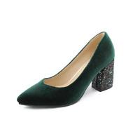 Women's High Block Heel faux Suede Slip ON Pumps SHoes Pointed Toe OL Formal sz