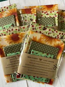 Beeswax Wraps Surprise Me Pack UK Beeswax  Pack OF 4 - 2xLg 1xMed & 1xSm