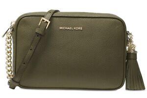 Michael Kors Jet Set Ginny Olive Green Leather Medium Camera Crossbody Bag