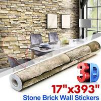 10Mx45cm 3D Wall Paper Brick Sticker Rolls Self-adhesive Backdrop Room Decor DIY