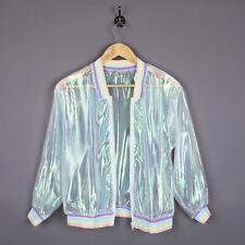 Damen Sommer Durchsichtig Jacke Holographisch Laser Bomber Baseball Mantel