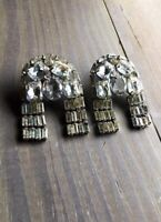 RARE Vintage Kenneth Jay Lane Crystal Waterfall Clip On Earrings