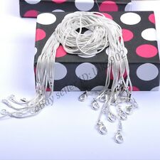 12Pcs Silver Plated Thin Snake Necklace Chain Fit all Beads With Lobster Clasp