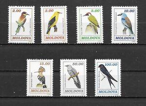 MOLDOVA 1993 set of 7 BIRDS MINT NH