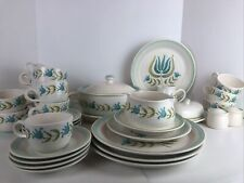 Vtg MId Century Aqua Tulip Franciscan Earthenware,FULL SET, Extras, Excellent
