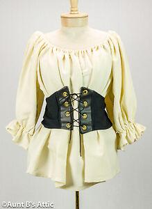 Medieval Renaissance Pirate Ladies Black Fabric Laced Front  Waist Cincher