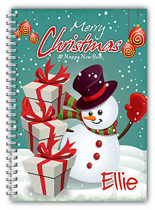 A5 PERSONALISED CHRISTMAS NOTEBOOK/ NOTE PAD LINED/ PERSONAL CHRISTMAS GIFT  05