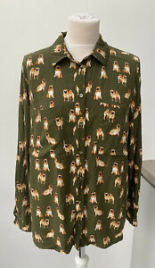 TU Olive Green Pug Dog Print Long Sleeve kitsch Shirt Blouse Size 16