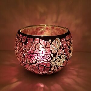 PINK/PURPLE CRACKLED GLASS MOSAIC CANDLE TEALIGHT HOLDER HOME DECOR