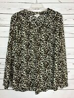 Umgee Boutique Women's M Medium Animal Print Cute Summer Fall Top Blouse Shirt