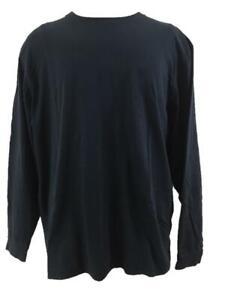 LL Bean mens t shirts size L regular fit navy blue long sleeve cotton