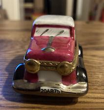 "Limoges French Car Replica Trinket Box, Luggage inside 2"" x 3"" x 1-1/2"""