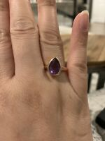 Amethyst Pear Rose Gold Ring Size 7.5 Plated