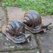 Set of 2 Cast Iron Snail Animal Garden Ornament Set