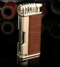 Honest Leather Cigar Cigarette Lighter & Czech Tool - Soft Flame Brown/Gold