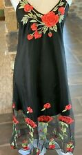 Black Mesh Overlay Midi Length Slip Dress Embroidered Red Roses Flowers Large
