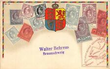 GREAT BRITAIN ENGLAND STAMP MOTIFF EMBOSSED SENT FROM GERMANY POSTCARD
