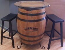 """Authentic Branded and Engraved Whiskey Barrel c/30"""" Glass Top- Bar Stools-Stand"""