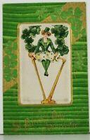 St Patrick's Day Schmucker Silk Insert Embossed Gilded c1908 Winsch Postcard J19