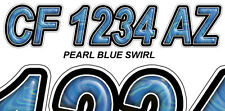 BLUE SWIRL Custom Boat Registration Numbers Decals Vinyl Lettering Stickers