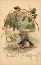 Happy Easter - H.B.G. - Girl Decorates For Spring - Old Embossed Postcard