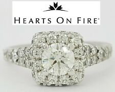 Hearts On Fire HOF 1.25 ct Diamond Halo Engagement Ring Ideal Triple 0