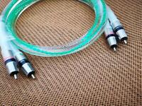 Pair 88% Silver TUBE AMPLIFIER AUDIO SOUND CD PLAYER RCA Interconnect CABLE 1M