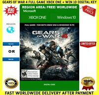 Gears of War 4 Xbox One PC Digital 🔑 Key Code Region Free 🌏 Win 10 ✔ FREE P&P