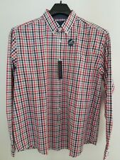 Mason James Stretch Button Down LS Wicking Shirt Size XL Red, White & Blue &Gray