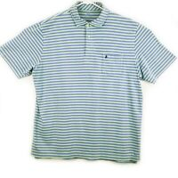 Peter Millar Summer Comfort Mens L Blue Striped Short Sleeve Golf Polo Casual