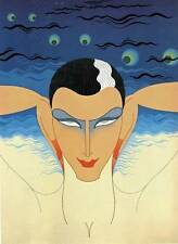 "ORIGINALE VINTAGE Erte Art Deco Print ""Mystere"" LIBRO Piastra"