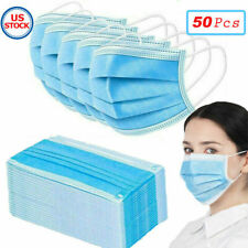 50 PCs Face Mask Medical Surgical Disposable 3-Ply Earloop Mouth Cover