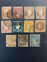 1852-68 Spain Stamps, lot of 11