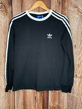 Adidas 3 Stripes Black Women's Long Sleeve T-Shirt Medium