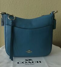 NWT COACH 35543 Chaise Crossbody in Polished Pebble Leather, Pacific Blue