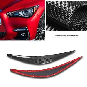 Front Headlight Lamp Cover Eyelid Eyebrow For Infiniti Q50 S 2014-2020 Carbon