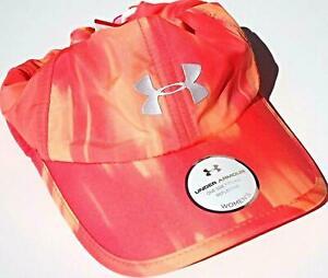 NEW Under Armour Womens Heatgear Reflective Running Cap-Orange Graphics OSFA