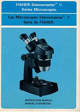Fisher StereoMaster II Series Micoscope Owner Instruction Manual OEM NOT a Copy!