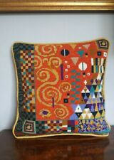 EHRMAN TAPESTRY NEW NEEDLEPOINT KLIMT CORAL  CUSHION by CANDACE BAHOUTH