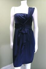 BCBG Max Azria One Shoulder Empire Waist Palais Navy Blue Sateen Dress~ Size 8