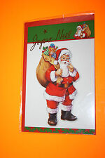 CARTE POSTALE JOYEUX NOEL + enveloppe rouge 11,5 x 16,5 cm  Père Noel  sac/dos