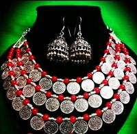 Indian Ethnic Traditional Bollywood Silver Oxidized necklace with Earrings