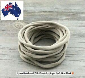 12pcs Nude Nylon Headband Thin-Super Soft-Stretchy-Non Dents - AU Seller