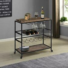 Farmhouse Bar Cart Removable Tray Kitchen Cart Rustic Wood & Metal Bar Table