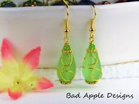 SEA GLASS Teardrop Green Loop Swirl GOLD Dangle Earrings USA HANDMADE