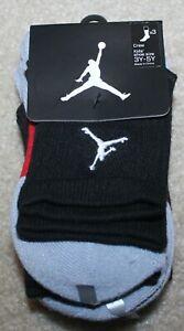 New! Boys Nike Air Jordan 3 Pack Socks (Crew Cut; Fits Shoe 3-5) - Sock Size 7-9