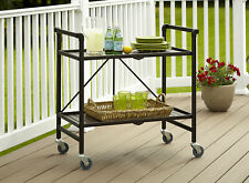 More details for cosco indoor outdoor folding serving drinks bar cart brown