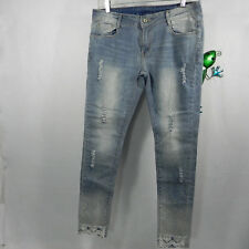 Womens Skinny Distressed Jeans Cotton Blend Size EU (L40) 31x29.5 Blue